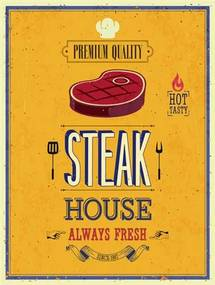 Retro tabula, rozmer 40 x 30 cm, Steak House, IMPOL TRADE PT008T2