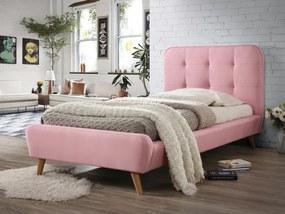 Ružová čalúnená posteľ TIFFANY 90 x 200 cm Matrac: Bez matraca