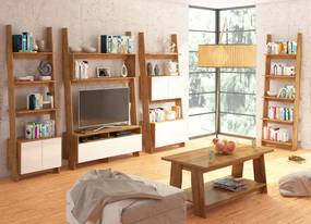 MEBLOCROSS Rack obývacia izba dub burgundský / biely lesk