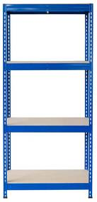 Majster Regál Bezskrutkový kovový regál s HDF policou 180x90x30cm, 4 políc, 400kg na policu, modrá farba