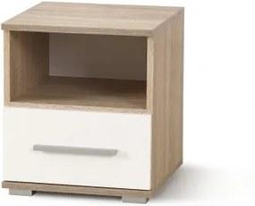 Nočný stolík Lima (dub sonoma, biela)