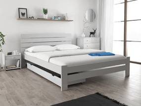Maxi Drew Posteľ PARIS zvýšená 140x200 cm, biela Rošt: s latkovým roštom, Matrac: s matracom Economy 10 cm