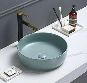 Umývadlo na dosku Swiss Aqua Technologies Infinitio 39x39 cm zelená mat bez otvoru pre batériu SATINF3939LGEM
