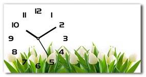 Sklenené hodiny na stenu tiché Biele tulipány pl_zsp_60x30_f_30153186
