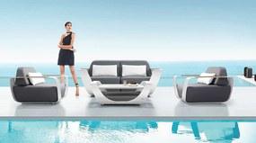 Luxusná sedacia súprava ONDA 7. (biela+sivá+teak)