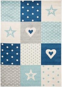 Detský kusový koberec Bodky modrý, Velikosti 80x150cm