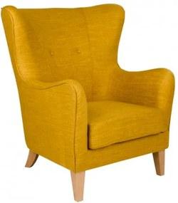 Křeslo ušák CAMPO žlutý House Nordic 1101043