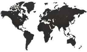 MiMi Innovations Nástenná dekorácia drevená mapa sveta Luxury čierna 90x54 cm