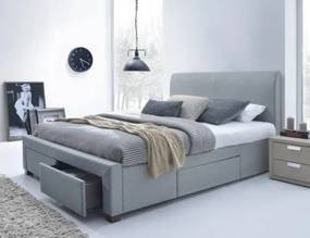 Marion - Posteľ 200x160, rám postele, rošt, 4 šuplíky (sivá