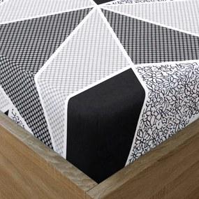 Goldea bavlnená napínacie plachta - vzor veľké čierne a sivé trojuholníky 90 x 200 cm