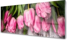 Obraz na skle sklenený Tulipány