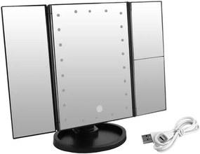 ISO Kozmetické zrkadlo 22 LED, USB čierna, 7870