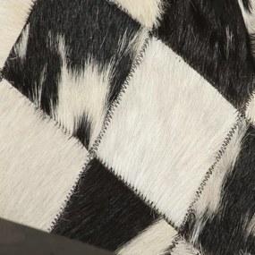 vidaXL Kreslo čierne a biele 61x70x74 cm pravá koža