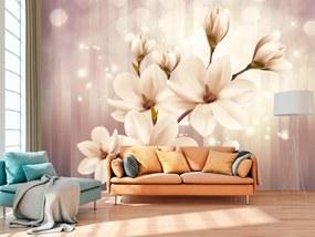 Murando DeLuxe Tapeta béžová - krásná magnolie 150x105 cm
