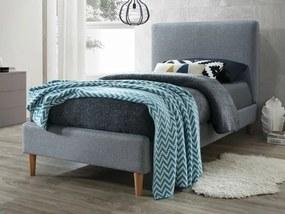 Sivá jednolôžková posteľ ACOMA 90 x 200 cm Matrac: Matrac SOMNIA 17 cm