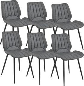 [en.casa] Jedálenská stolička 6 x AACM-9032 - koženka