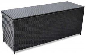 vidaXL Záhradný úložný box čierny 150x50x60 cm polyratan