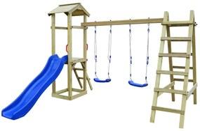 vidaXL Ihrisko+šmýkačka, rebríky, hojdačky 286x237x218cm, FSC borovica