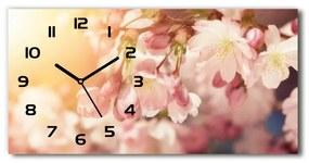 Sklenené hodiny na stenu tiché Kvety višne pl_zsp_60x30_f_81037561