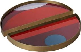 Ethnicraft Podnos Glass Valet Tray Round, garnet curve