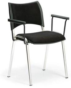 Konferenčná stolička SMART - chrómované nohy, s podpierkami rúk, čierna