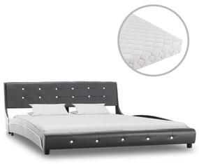 vidaXL Posteľ s matracom sivá 160x200 cm umelá koža