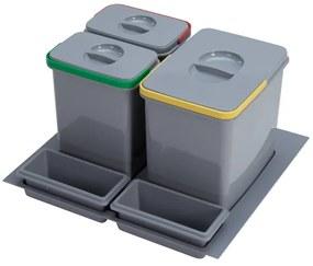 Odpadkový kôš Sinks PRACTIKO 600 1x15l + 2x7l + 2x miska