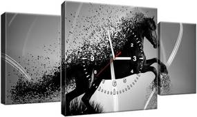 Obraz s hodinami Čiernobiely kôň – Jakub Banas 80x40cm ZP3573A_3AX