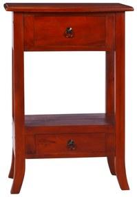 vidaXL Konzolový stolík klasický hnedý 50x30x75 cm mahagónový masív