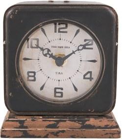 Kovové stolové retro hodiny s patinou - 11*5*12 cm