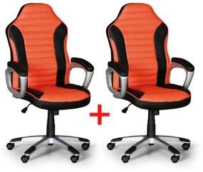 Kancelárske kreslo Šport 1+1 ZADARMO, čierna/oranžová