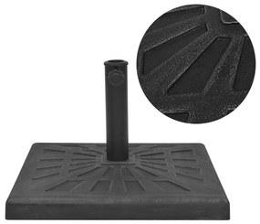 vidaXL Stojan na slnečník, živicový, štvorcový, čierny, 19 kg