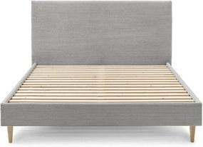 Sivá menčestrová dvojlôžková posteľ Bobochic Paris Anja Light, 160 x 200 cm