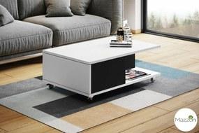 Mazzoni MAT-VIENNA biely mat + čierny, konferenčný stolík na kolieskach, čiernobiely