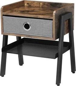 Sconto Prístavný stolík LET64X čierna/hnedá/sivá