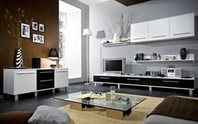 Lesklá obývacia stena MONICA biela-čierna