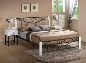 SIGNAL Parma 160 rustikálna manželská posteľ s roštom biela / čierna