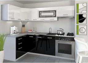 Kuchynská linka 130 x 230 cm bielo čierna rohová Lui