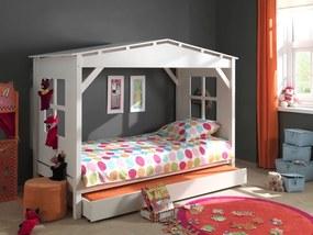 Detská posteľ - domček Pino - biela len úložný priestor