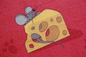 3kraft Detský koberec Mouse červený