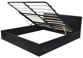 Rám postele s výklopným roštom, umelá koža, 160x200 cm, čierny