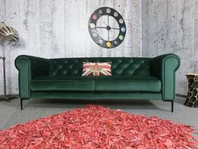 (2440) WATERLOO Chesterfield pohovka zelený zamat