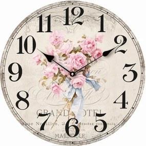 Isabelle Rose Drevené hodiny s kyticou ružových ruží 29 cm