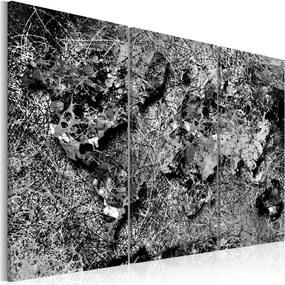 Obraz -  World Map: Grey Thread 90x60