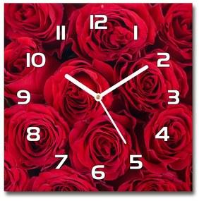 Sklenené nástenné hodiny štvorec Ruže pl_zsk_30x30_f_102803756