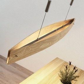 Lucande Petyr závesné LED svietidlo drevený vzhľad