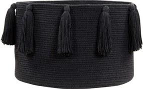 LORENA CANALS Pletený kôš Tassels Black, čierna