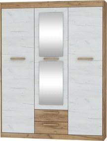 MEBLOCROSS Maximus MXS-05 3D šatníková skriňa so zrkadlom craft zlatý / craft biely