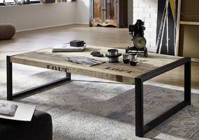Masiv24 - FABRICA konferenčný stolík #111, liatina a mangové drevo, potlač