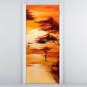 Fototapeta na dvere - oranžová krajina (95x205cm)